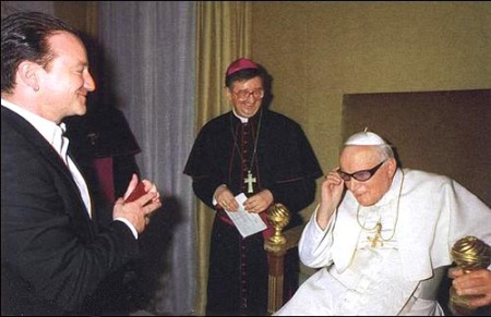 JPII with Bono Glasses